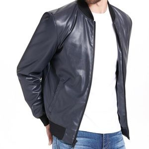 DKNY Navy Faux Leather Bomber